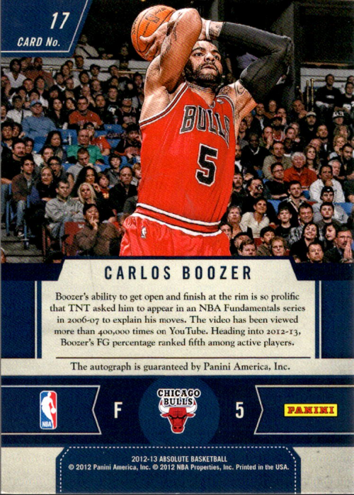 2012-13 Absolute Frequent Flyer Autographs #17 Carlos Boozer/99 back image