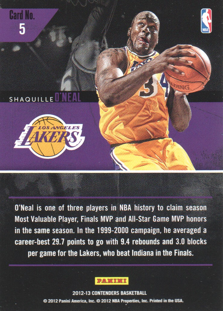 2012-13 Panini Contenders Legendary Contenders #5 Shaquille O'Neal back image
