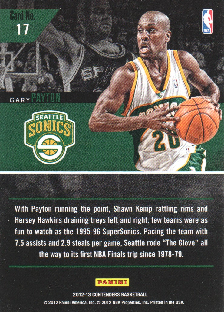 2012-13 Panini Contenders Legendary Contenders #17 Gary Payton back image