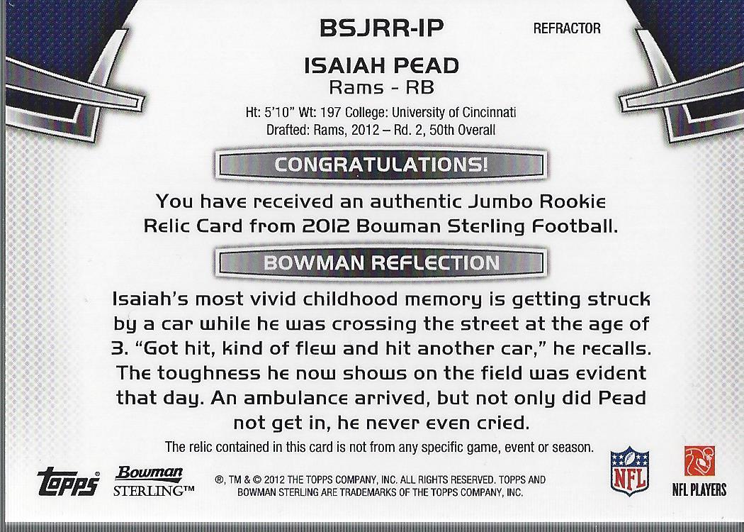 2012 Bowman Sterling Blue Refractors #BSJRRIP Isaiah Pead JSY/99 back image