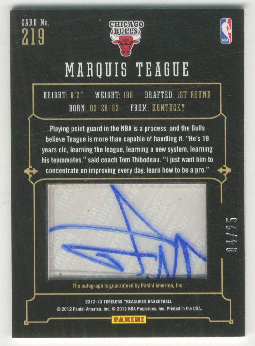 2012-13 Timeless Treasures Silver #219 Marquis Teague AU back image