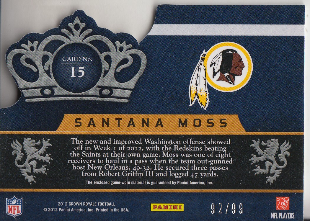 2012 Crown Royale Crowning Glory Materials #15 Santana Moss/99 back image