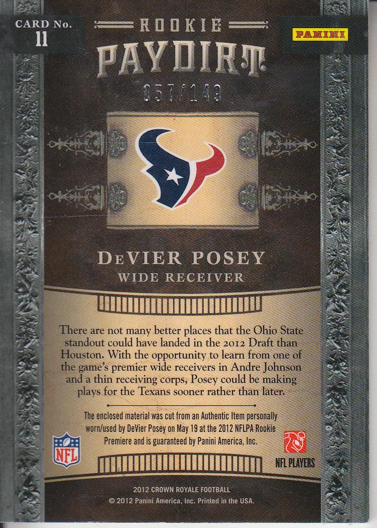 2012 Crown Royale Rookie Paydirt Materials #11 DeVier Posey back image