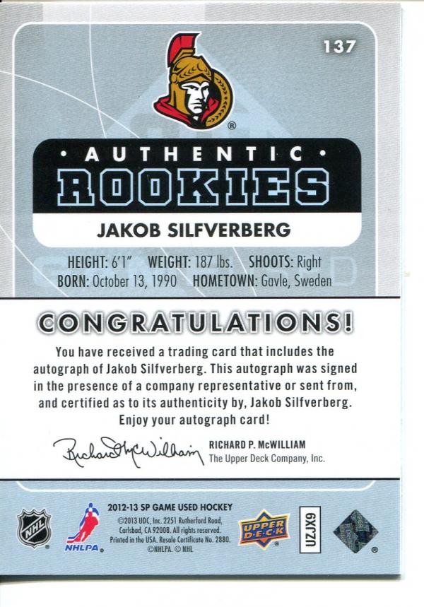 2012-13 SP Game Used Gold Autographs #137 Jakob Silfverberg back image
