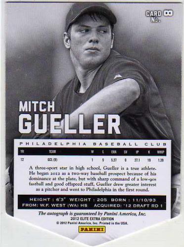 2012 Elite Extra Edition Signature Aspirations #8 Mitch Gueller back image