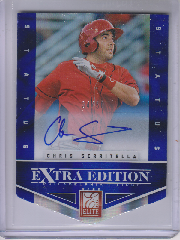 2012 Elite Extra Edition Signature Status Blue #53 Chris Serritella