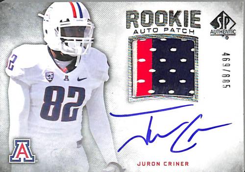 2012 SP Authentic #257 Juron Criner JSY AU/885