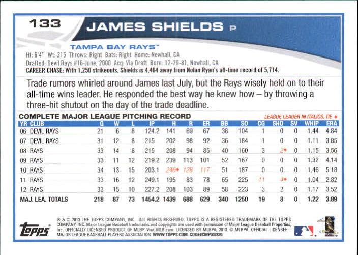 2013 Topps Target Red Border #133 James Shields back image