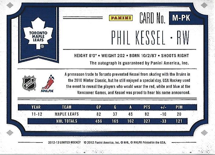 2012-13 Limited Monikers Silver #MPK Phil Kessel/49 back image