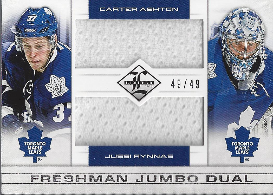 2012-13 Limited Freshman Dual Jumbo Materials #FDAR Carter Ashton/Jussi Rynnas