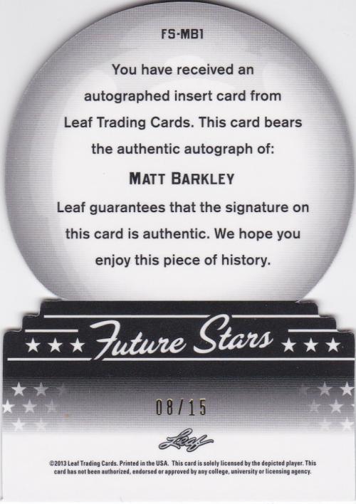 2013 Leaf Metal Draft Future Stars Prismatic Blue #FSMB1 Matt Barkley back image