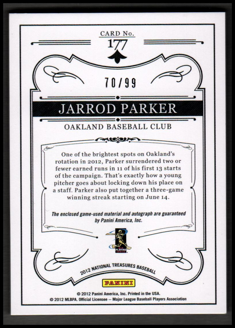 2012 Panini National Treasures #177 Jarrod Parker Jsy AU RC back image