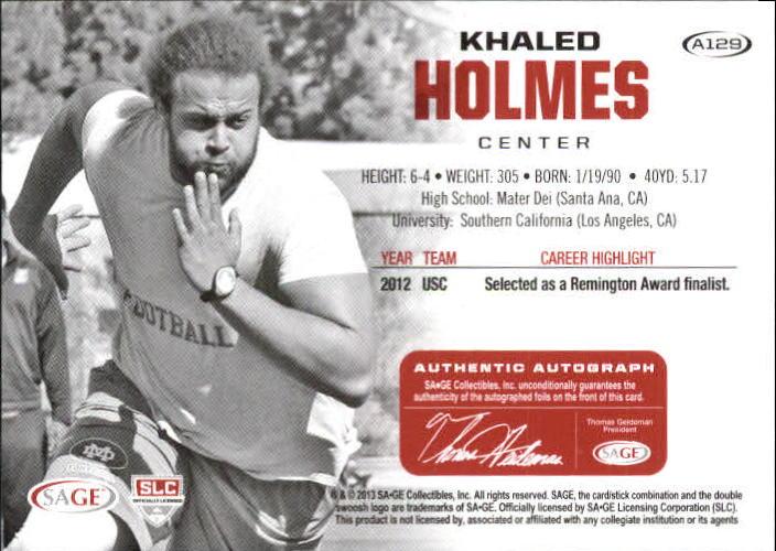 2013 SAGE HIT Autographs Silver #A129 Khaled Holmes back image