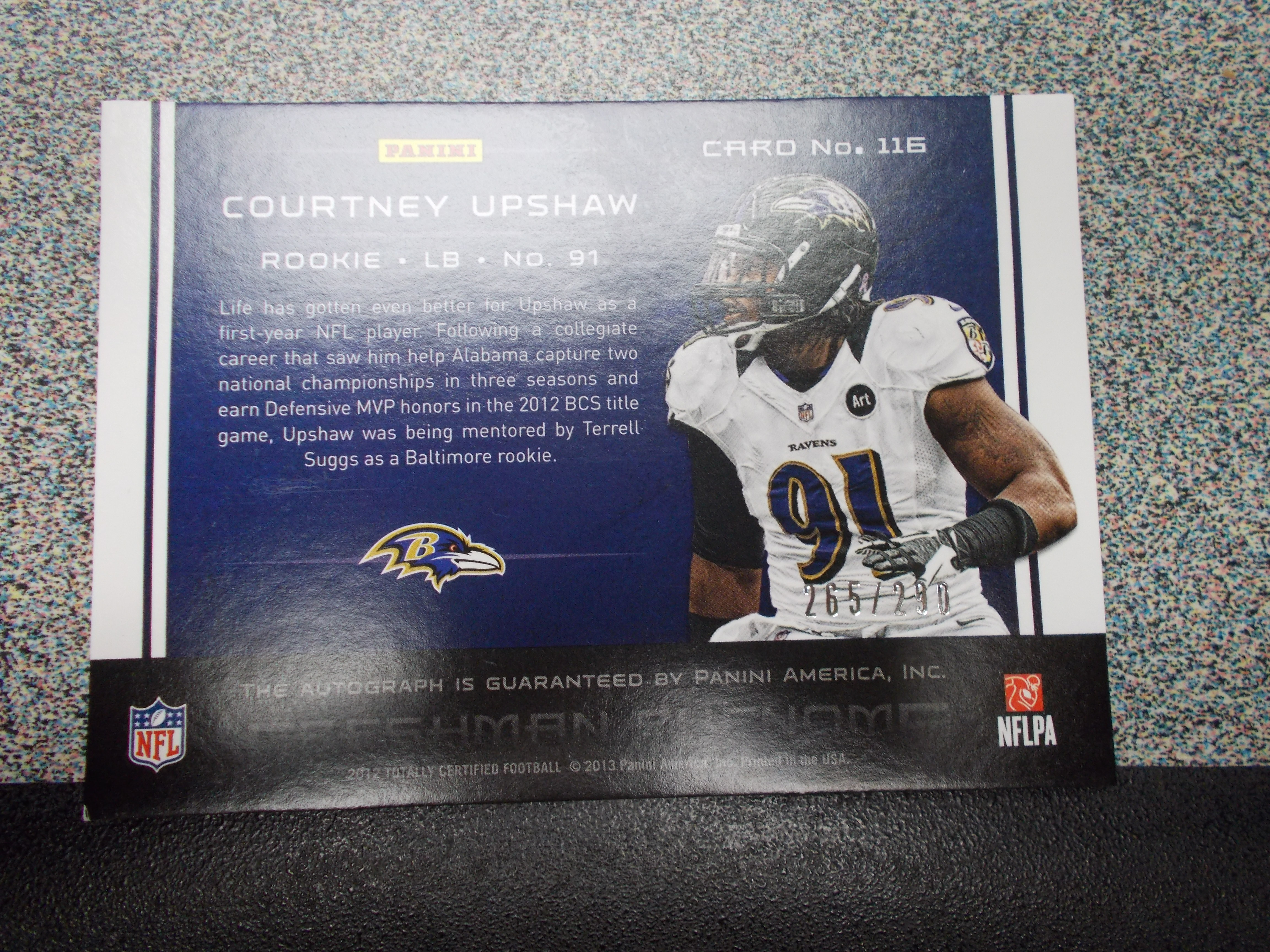 2012 Totally Certified #116 Courtney Upshaw AU/290 RC back image