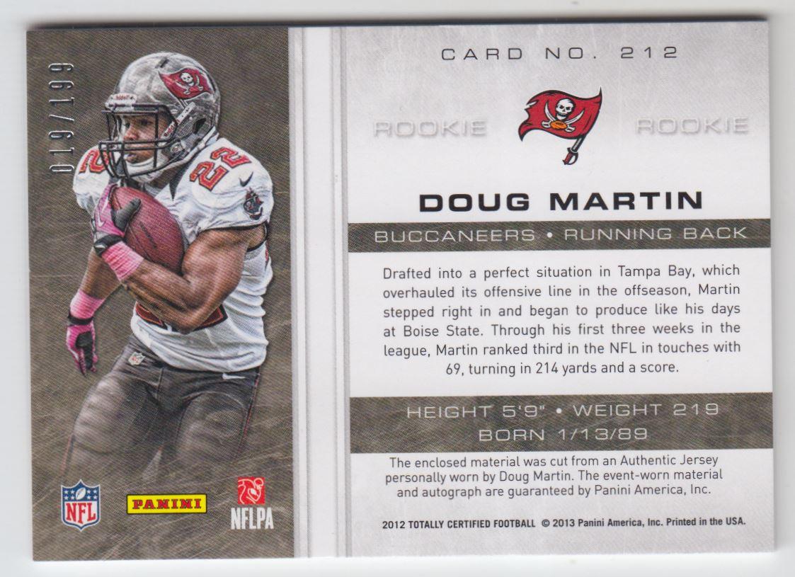 2012 Totally Certified #212 Doug Martin JSY AU/199 RC back image