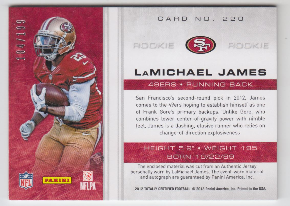 2012 Totally Certified #220 LaMichael James JSY AU/199 RC back image