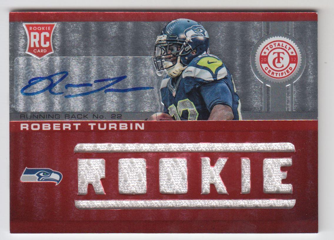 2012 Totally Certified #227 Robert Turbin JSY AU/199 RC