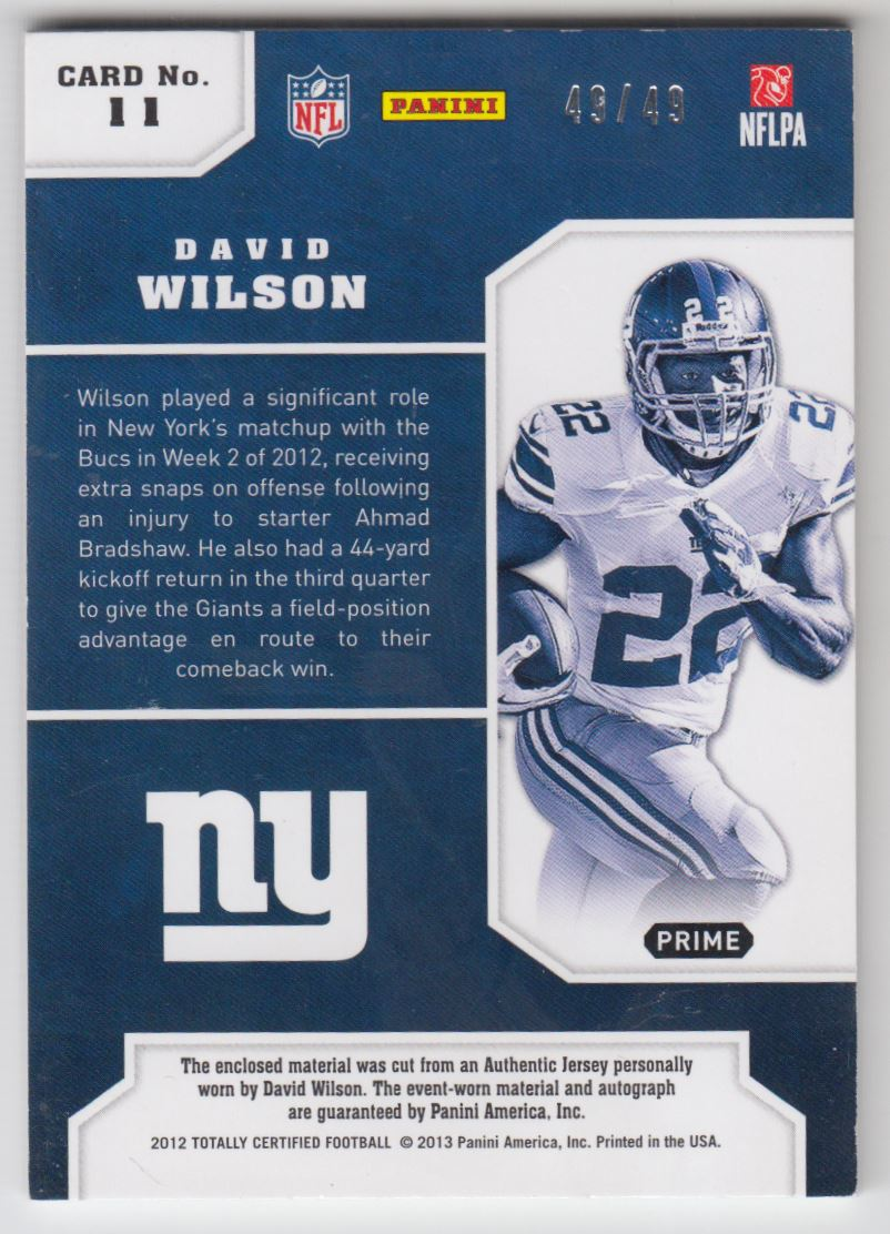 2012 Totally Certified Future Signature Materials Prime #11 David Wilson/49 back image