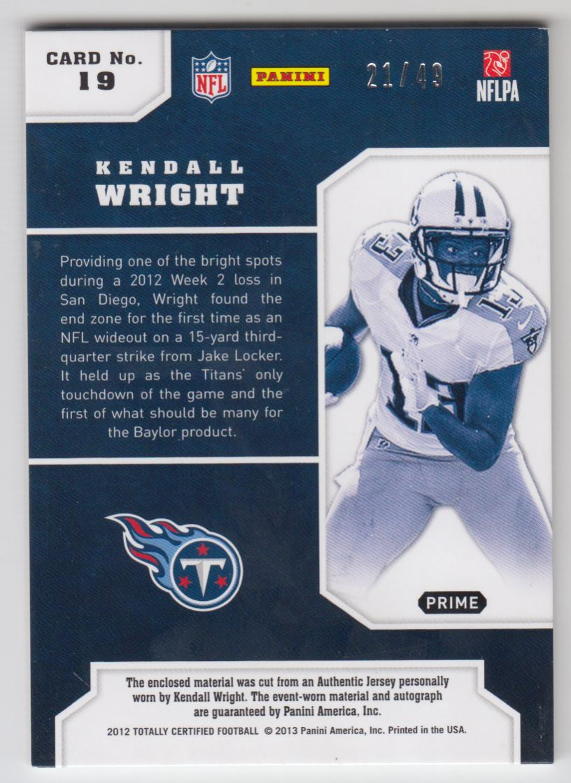 2012 Totally Certified Future Signature Materials Prime #19 Kendall Wright/49 back image