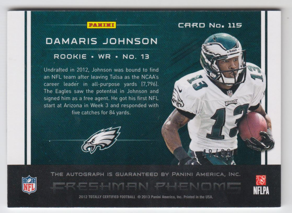 2012 Totally Certified Blue #115 Damaris Johnson AU/99 back image