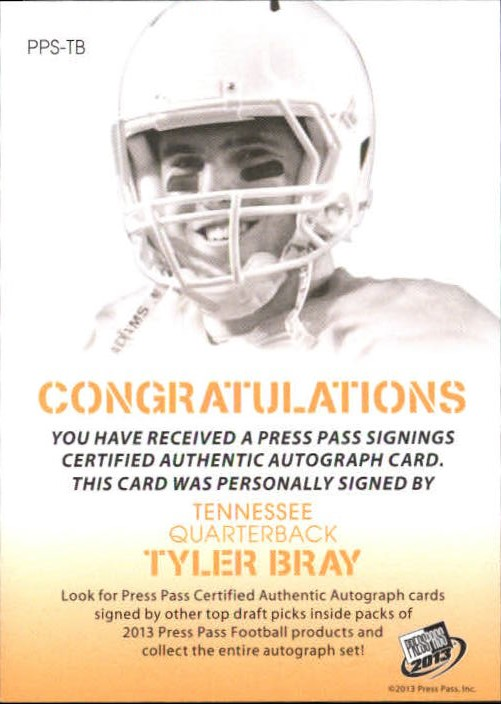 2013 Press Pass Autographs Gold Red Ink #TB Tyler Bray/30* back image