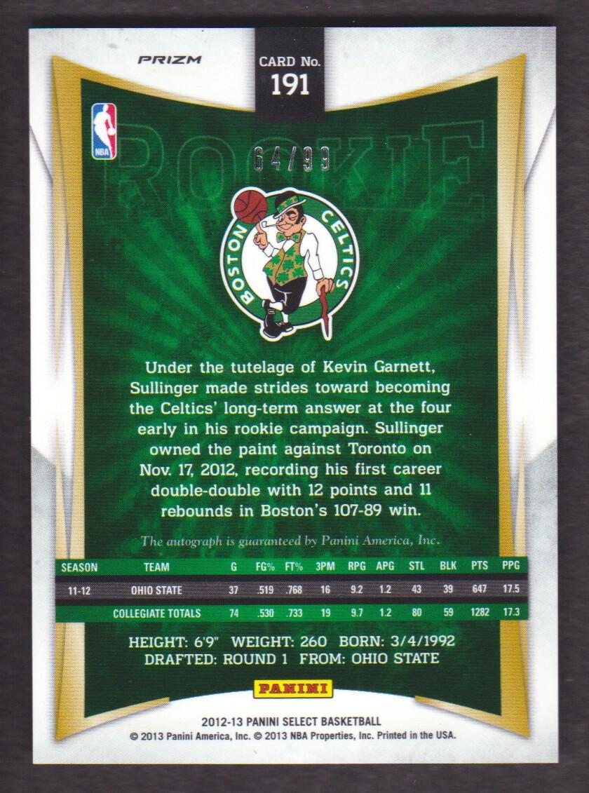 2012-13 Select Prizms #191 Jared Sullinger AU/99 back image