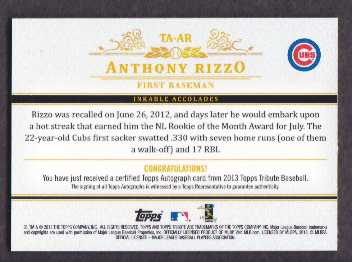 2013 Topps Tribute Autographs #AR Anthony Rizzo back image