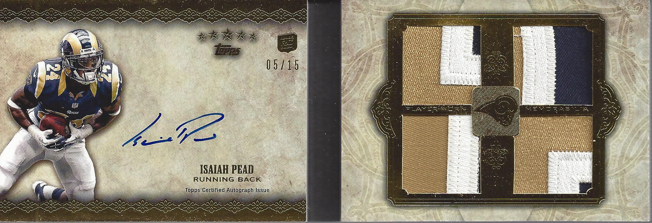 2012 Topps Five Star Rookie Autographed Quad Jersey Gold #FSFA4IP Isaiah Pead
