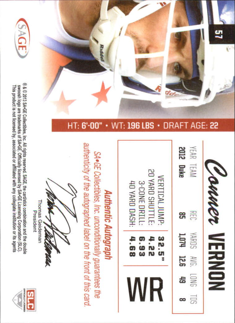 2013 SAGE Autographs Silver #57 Conner Vernon back image