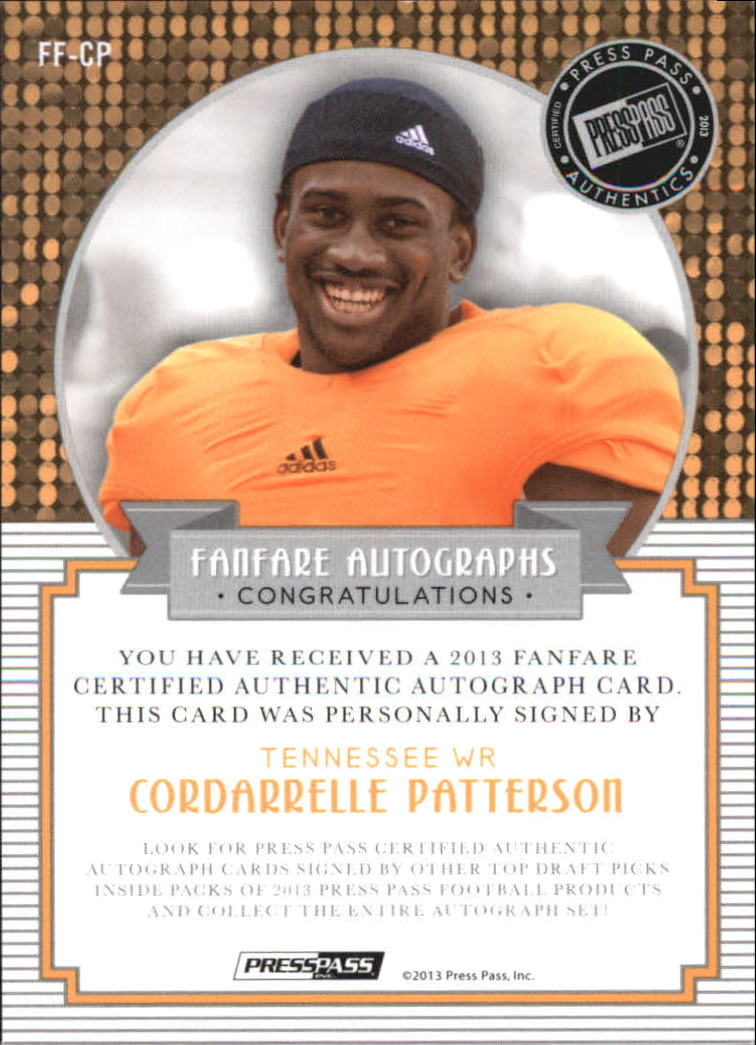 2013 Press Pass Fanfare Aqua #FFCP Cordarrelle Patterson AU/99 back image