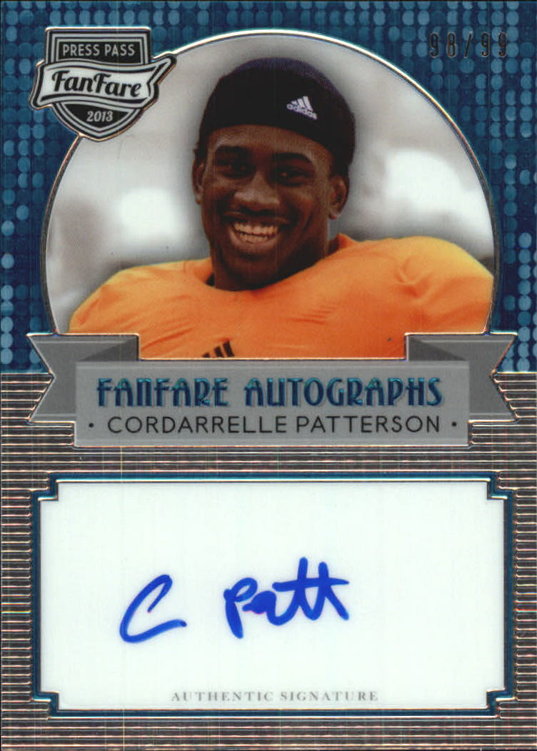 2013 Press Pass Fanfare Aqua #FFCP Cordarrelle Patterson AU/99