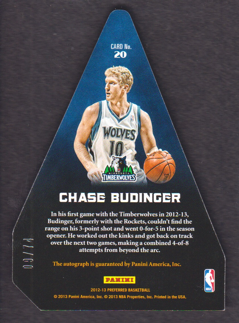 2012-13 Panini Preferred #20 Chase Budinger PC AU/74 back image