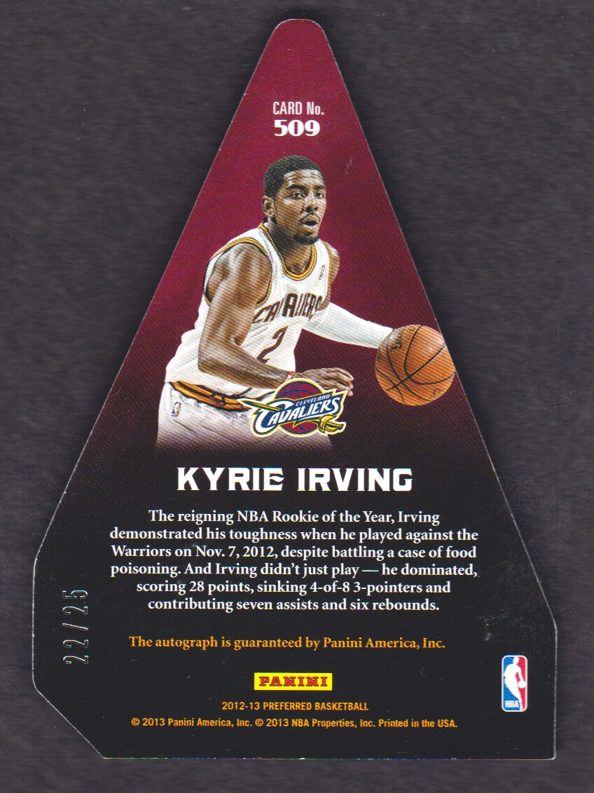 2012-13 Panini Preferred #509 Kyrie Irving PC AU/25 back image
