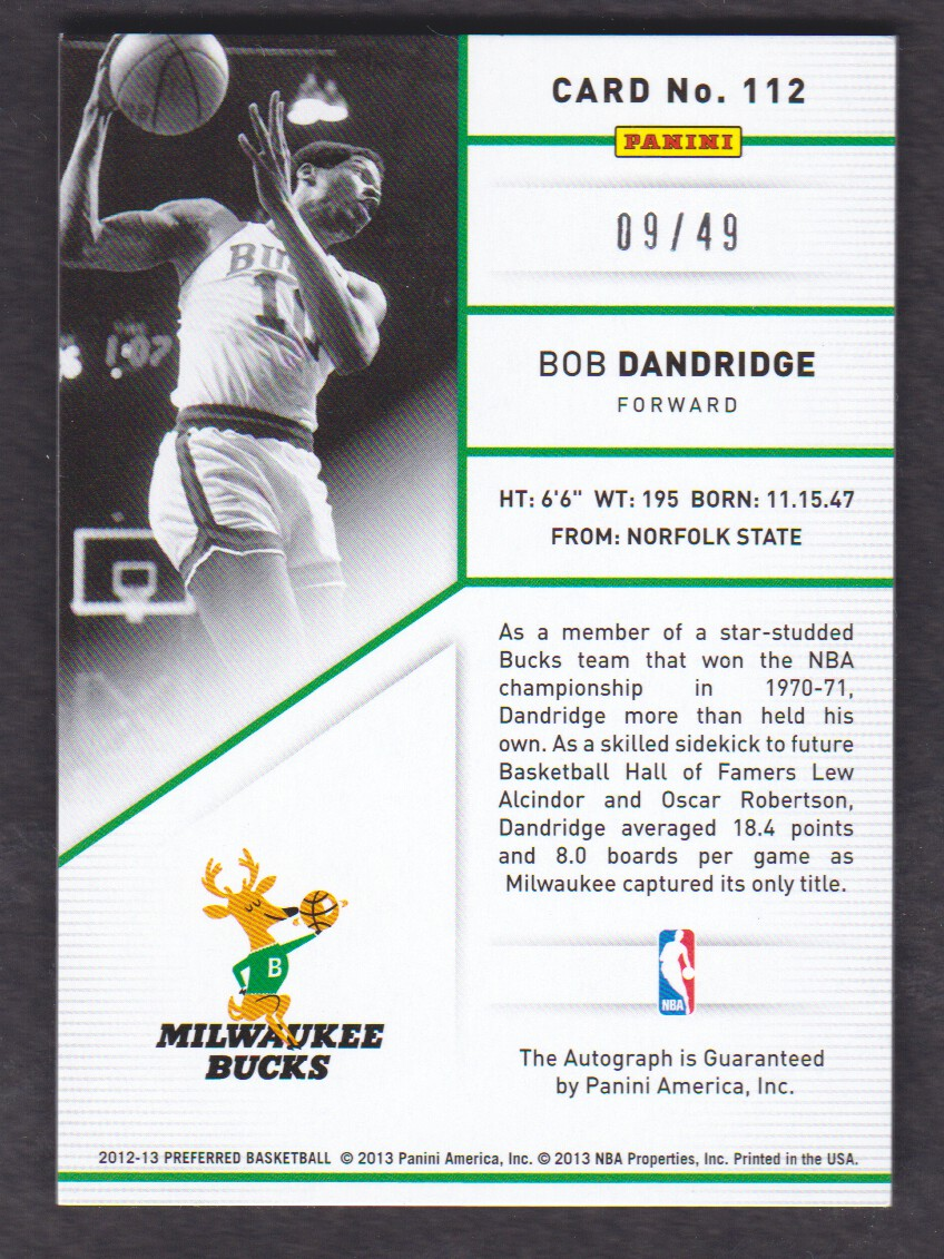 2012-13 Panini Preferred Blue #112 Bob Dandridge PS AU/49 back image