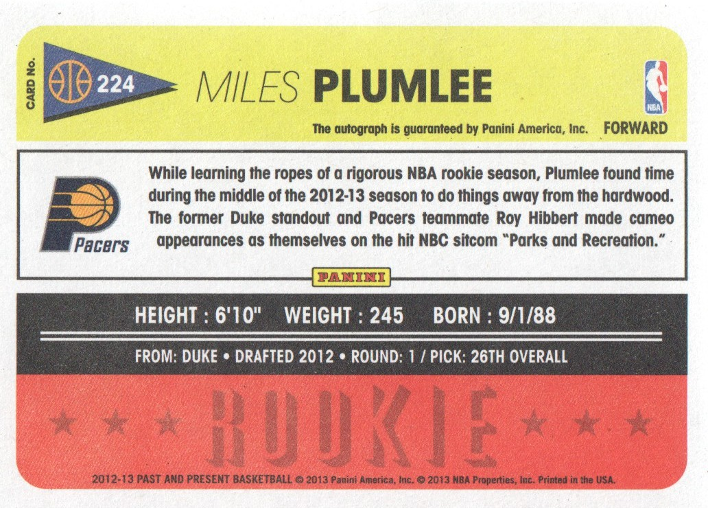 2012-13 Panini Past and Present Signatures #224 Miles Plumlee back image