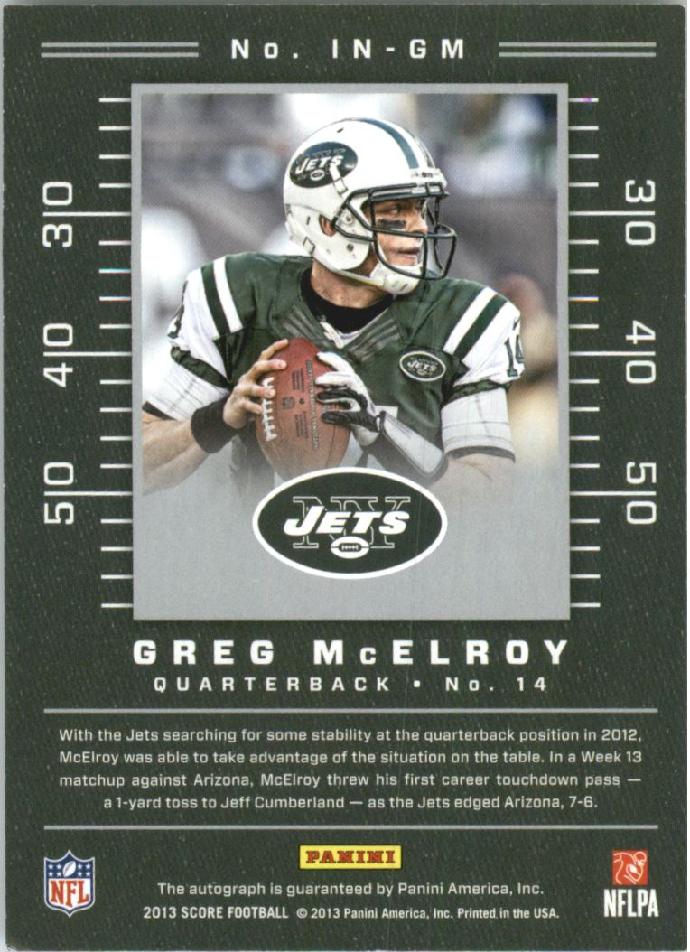 2013 Score Inscriptions #36 Greg McElroy back image