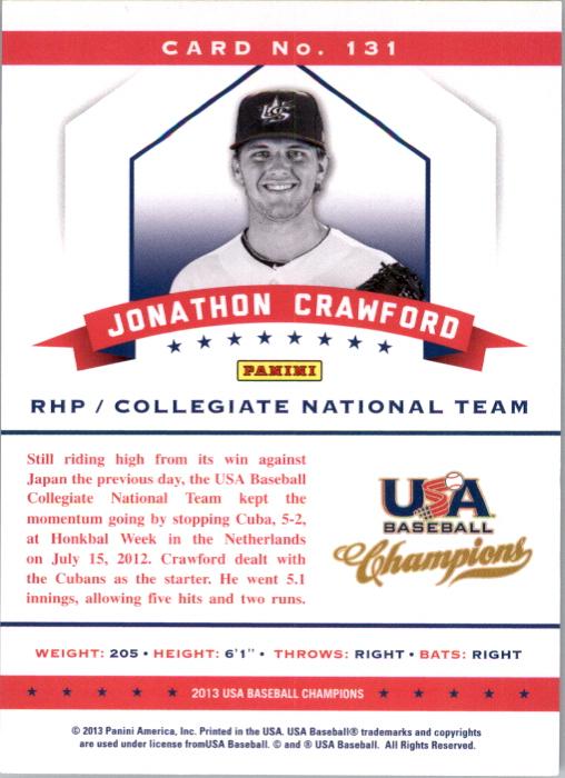 2013 USA Baseball Champions #131 Jonathon Crawford back image