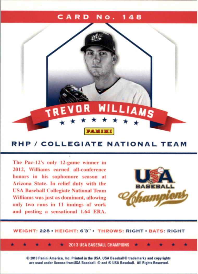2013 USA Baseball Champions #148 Trevor Williams back image