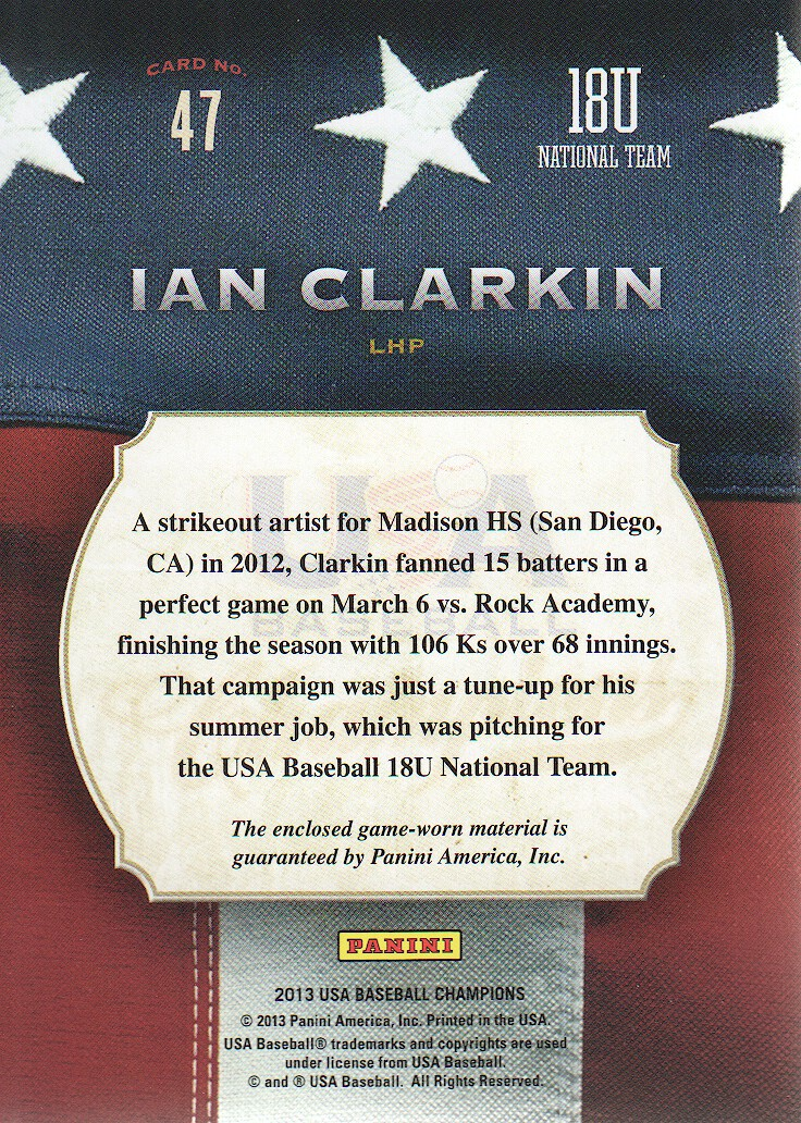 2013 USA Baseball Champions Game Gear Jerseys #47 Ian Clarkin back image