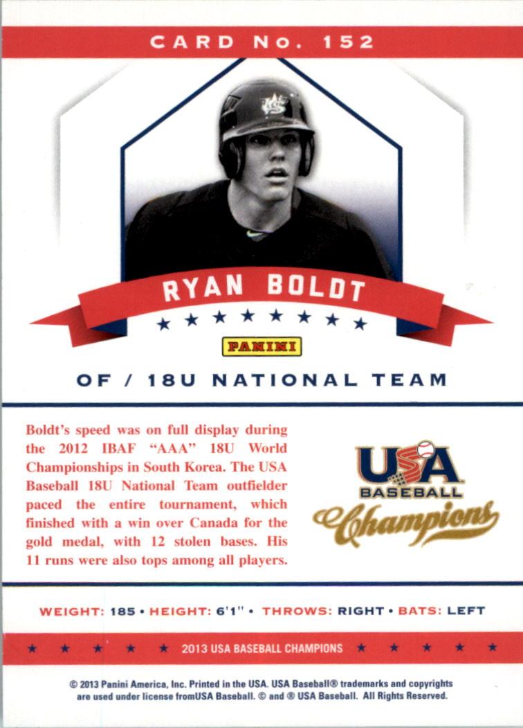 2013 USA Baseball Champions National Team Mirror Blue #152 Ryan Boldt back image