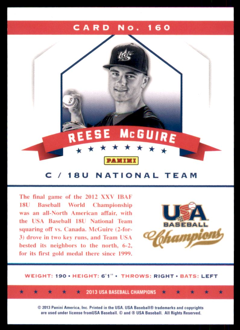 2013 USA Baseball Champions National Team Mirror Red #160 Reese McGuire back image