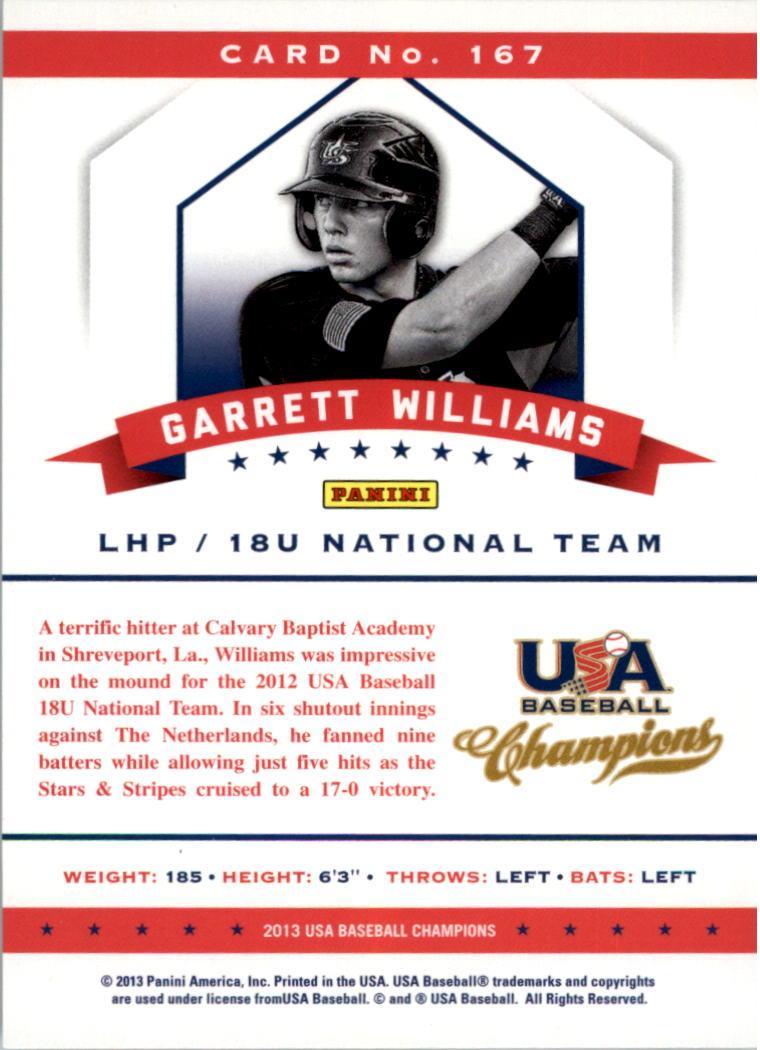 2013 USA Baseball Champions National Team Mirror Red #167 Garrett Williams back image