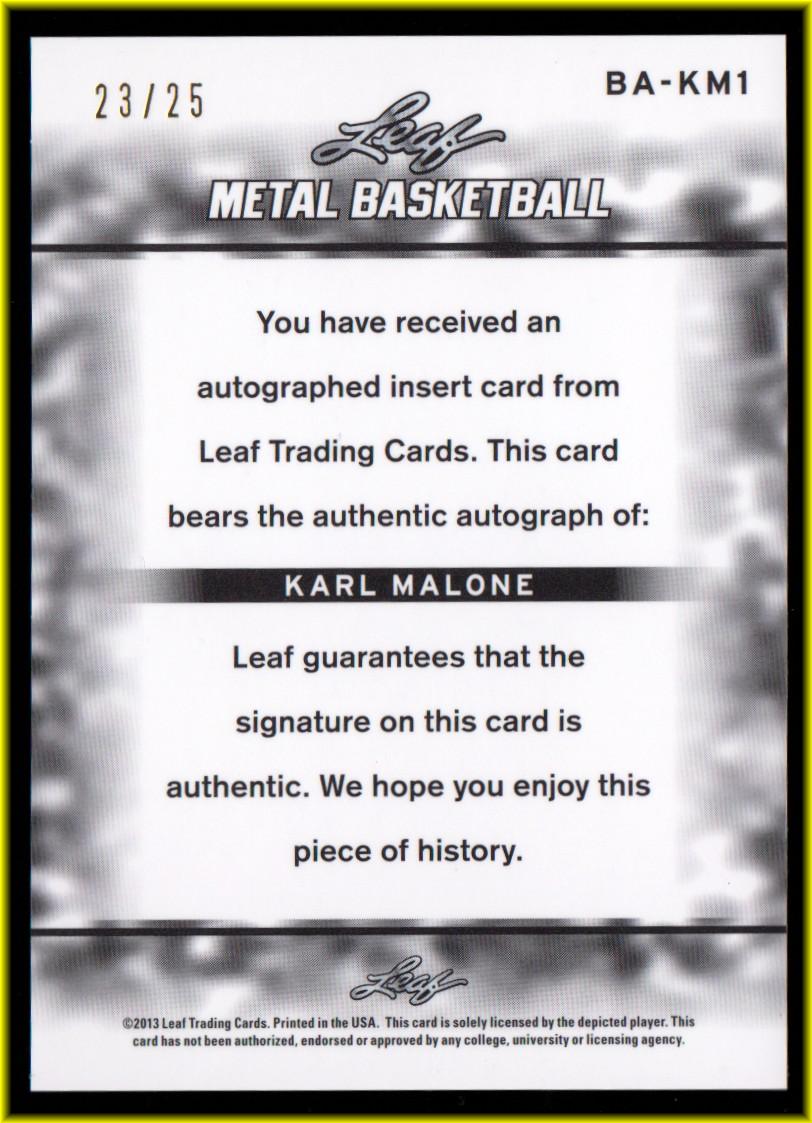 2012-13 Leaf Metal Holo Blue #BAKM1 Karl Malone back image