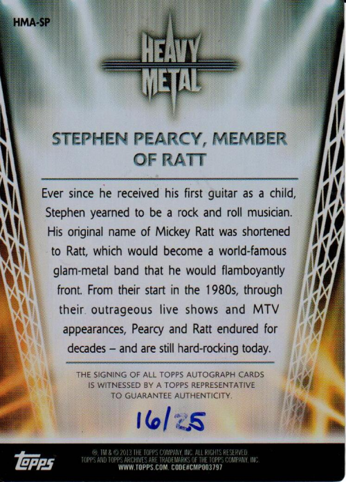 2013 Topps Archives Heavy Metal Autographs Metal #SP Stephen Pearcy back image