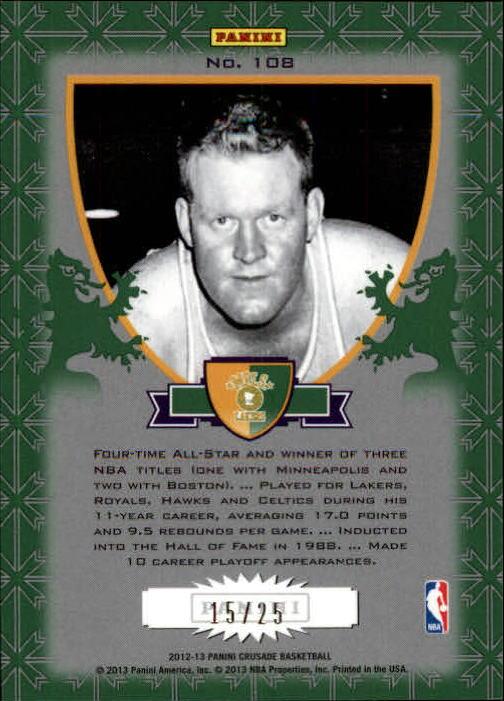 2012-13 Panini Crusade Insert Green #108 Clyde Lovellette back image