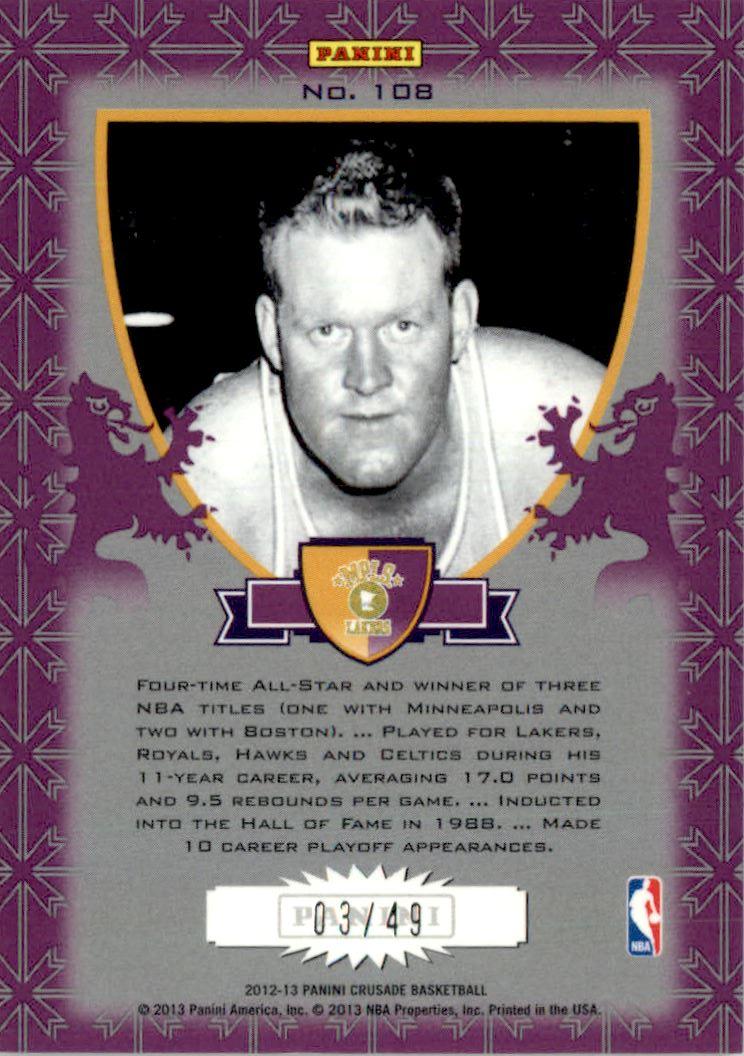 2012-13 Panini Crusade Insert Purple #108 Clyde Lovellette back image