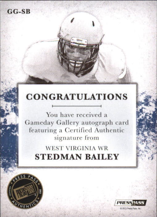 2013 Press Pass Gameday Gallery Silver #SB Stedman Bailey/34 back image
