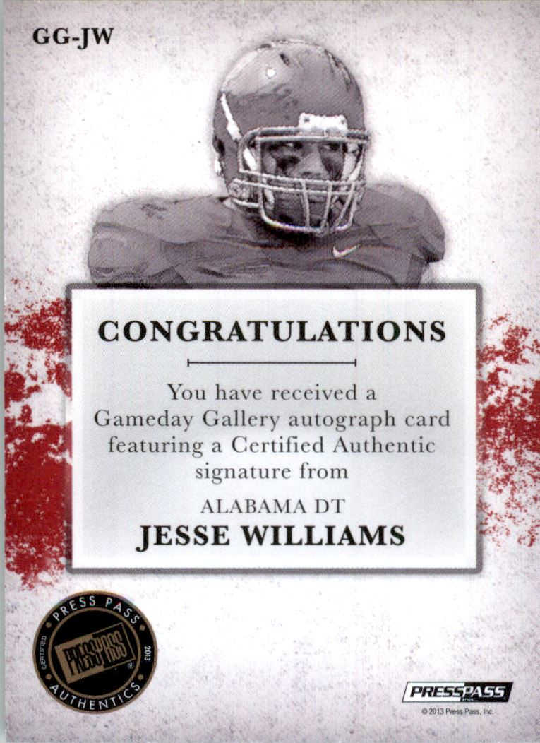 2013 Press Pass Gameday Gallery Gold Red Ink #JW Jesse Williams/34* back image