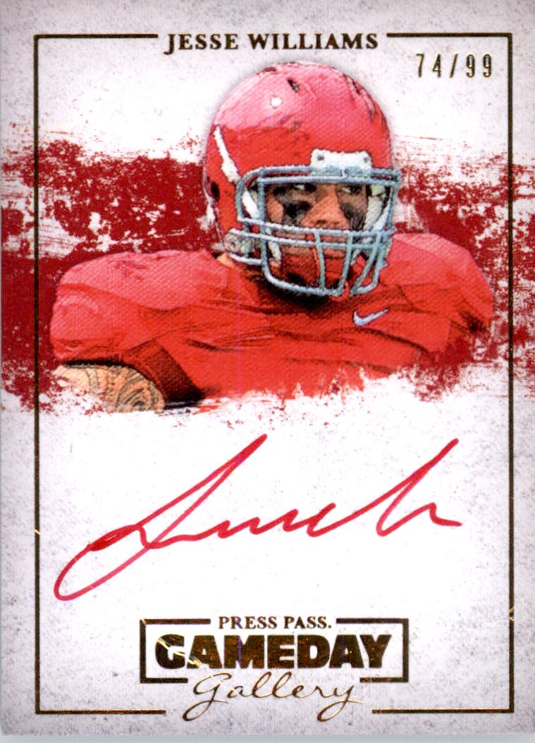 2013 Press Pass Gameday Gallery Gold Red Ink #JW Jesse Williams/34*