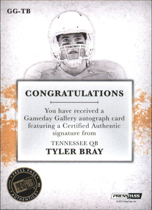 2013 Press Pass Gameday Gallery Gold Red Ink #TB Tyler Bray/41 back image